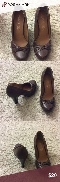 Genuine leather, Brown, Aldo, medium heels EUC, 3 inch heels, cute. Smoke and pet free home. Will fit size 8.5 as well Aldo Shoes Heels