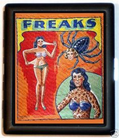 Freaks Sideshow Banner Circus Oddity Cigarette Id Case