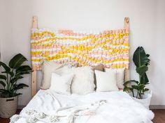 DIY Bedroom Decor Ideas - Make a Woven Headboard - Easy Room Decor Projects for The Home - Cheap Farmhouse Crafts, Wall Art Idea, Bed and Bedding, Furniture Handmade Home Decor, Diy Home Decor, Diy Quilt, Diy Bett, Headboard Designs, Headboard Ideas, Canvas Headboard, Diy Casa, Cozy Bed