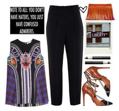 """You don't have haters, you just have confused admirers!"" by karineminzonwilson ❤ liked on Polyvore featuring Mary Katrantzou, Nancy Gonzalez, Daniele Michetti, Vincent Longo, Givenchy, Summer, purple, black, orange and rippedjeans"