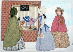 """#4 """"The Bonnet Girls Neighborhood & Town""""  Tilly's Hat Shop Pattern $13.50    Liza, Laura Lee and Amealia gazing longingly in the Hat Shop window at a new Blue Bonnet!  The shop can be brick, wood or stone.  Embroidery floss is used for the hair."""