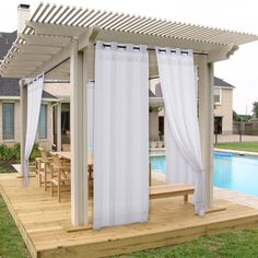 NICETOWN Indoor Outdoor Sheer Curtain Set for Bathroom, Mildew Resistant Thin Fabric Sheer Voile Drapes for Pergola/Balcony/ Verandah Panel with 1 Rope Tieback, 54 Inch Wide by 108 Inch Long, White) Pergola Drapes, Outdoor Curtains For Patio, Porch Curtains, Curtains And Draperies, Outdoor Privacy, Patio Gazebo, Sheer Curtain Panels, Sheer Drapes, Backyard Pergola