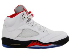 Mens Air Jordan Retro 5 V Fire Red White Fire Red Black 136027-100 #SNEAKERS