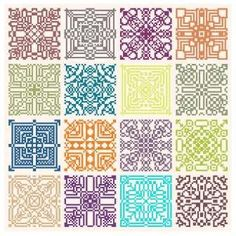 pattern featuring geometric motifs stitches in our 16 new colors of floss