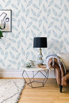 Boho decal Feather temporary wallpaper Aztec wall by BohoWalls