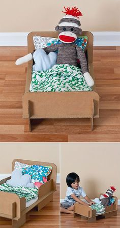 DIY Recycled Card­board Doll Bed