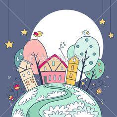 Дома ночь и Луна со звездами — Stock Illustration #51383203