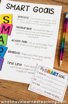 SMART Goal Setting in elementary school. Help students set SMART goals by setting strategic, measurable goals with an action plan that are realistic and timely. Included are data binders, goal setting forms, reflection pages and much, much more. Goal Setting For Students, Smart Goal Setting, Data Binders, Data Notebooks, Student Led Conferences, Student Goals, Academic Goals, Student Data Tracking, School Goals