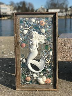 This listing features 2 options of mermaids. Option Slightly larger, 27 x 15 white mermaid with pink and aqua accents Sea Glass Crafts, Sea Crafts, Sea Glass Art, Glass Beach, Glass Artwork, Seashell Art, Seashell Crafts, Okinawa, Glass Art Pictures