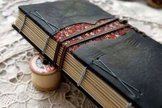 The Peasant - Black Leather Journal, Coptic Stitched, Floral Fabric, Tea Stained Pages, Recycled, OOAK