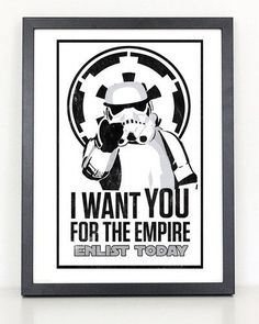 Star Wars- The Empire Needs You Poster 11x17 Print Printed on 80lb high quality glossy photo paper Frame not included Colors vary monitor to monitor shipped in durable cardboard poster tube Please allow 1-2 weeks for delivery.