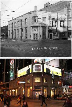 Northwest corner of Yonge & Dundas, Toronto, circa 1950. City of Toronto Archives photo.