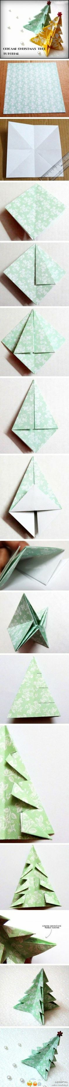 Origami paper art # Liangtu hands folded origami Christmas tree tutorial # friends ~ ~ ~ (from a few minutes . Origami Christmas Tree, Noel Christmas, Winter Christmas, Christmas Ornaments, Origami Xmas, Xmas Trees, Unique Christmas Gifts, All Things Christmas, Christmas Projects