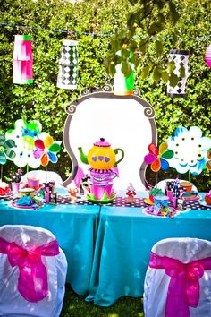 Mad Hatters Tea Party - we can do these too, complete with massive Mad Hatters Hat, croquet, giant sized playing cards and more! Always looking for more unbirthday party ideas!-ns