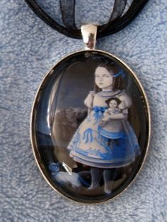 Blue Willow Lowbrow Folk Art Pendant Girl with her by redrevvy, $15.00