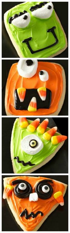 Wacky Monster Cookies ~ Fun and easy using Pillsbury™ refrigerated sugar cookies . Bring these silly cookies to your next Halloween get-together! Orrrrr I could make my own cookie dough if I'm not feeling too lazy Halloween Desserts, Hallowen Food, Halloween Food For Party, Holidays Halloween, Halloween Kids, Halloween Recipe, Halloween Bark, Halloween Baking, Halloween