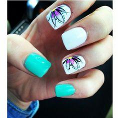 Teal🌸 Nail Art Designs, Flower Nail Designs, Acrylic Nail Designs, Pretty Nails, Fun Nails, Teal Acrylic Nails, Cruise Nails, Manicure, Bright Nails