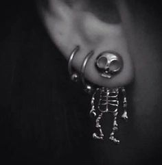 Skeleton front and back earrings