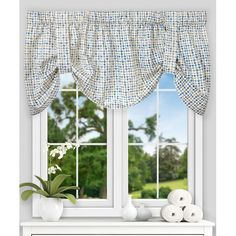 """Found it at Wayfair - Breckan Ikat Check Tie-up 60"""" Curtain Valance"""