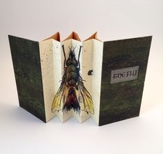 The Fly by Michele Olsen 2 concertinas, one for spine one for pages Accordian Book, Concertina Book, Paper Book, Paper Art, Altered Books, Altered Art, Scrapbook, Pop Up Art, Insect Art