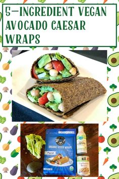 Vegan Caesar Dressing, Veggie Wraps, Shredded Carrot, Cherry Tomatoes, My Recipes, Vegan Vegetarian, Avocado, Veggies, Stuffed Peppers