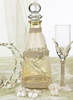 Greek olive theme stefana, decanter and champagne glass. Handmade with pearls and porcelain leaves! Cheap Wine Glasses, Wine Decanter Set, Wine Tourism, Wine Stains, Expensive Wine, Wine Refrigerator, Greece Wedding, Wine Bottle Holders, Wine Parties