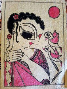 Madhubani Art, Madhubani Painting, Krishna Painting, Doodle Art Drawing, Art Drawings Sketches, Indian Folk Art, Indian Art Paintings, Buddha Art, Tribal Art