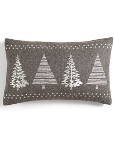 Holiday Lane Gray Rectangular Christmas Tree Decorative Pillow, Created for Macy's