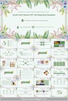 Small Fresh flowers PPT Job Reporting Templates: With a beautiful floral and green leaf background, it presents a fresh literary style for work reports, Product Report, Debriefing reports, etc. Free Powerpoint Templates Download, Ppt Free, Powerpoint Design Templates, Ppt Design, Background Ppt, Green Leaf Background, Presentation Design, Presentation Templates, Recruitment Themes