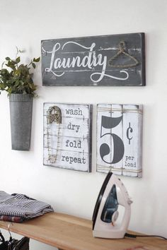This is a SET OF THREE Laundry Room decor signs - a laundry sign with string art JUTE hanger, a string art JUTE cloths pen with wash, dry, fold, repeat saying, and 5 cent per load sign with JUTE rope accents for a true rustic effect! This 3 piece laundry set is perfect for the laundry