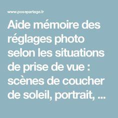 Aide mémoire des réglages photo selon les situations de prise de vue : scènes de coucher de soleil, portrait, paysage, nuit...