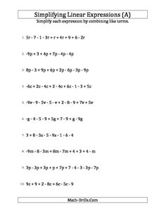 math worksheet : algebra worksheet  simplifying algebraic expressions with one  : Adding And Subtracting Linear Expressions Worksheet
