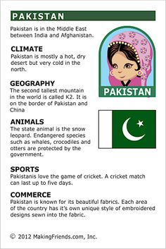 MakingFriends Facts about Pakistan Printable Thinking Day fact card for our passports. Perfect if you chose Pakistan for your Girl Scout Thinking Day or International Night celebration. Geography Worksheets, Teaching Geography, World Geography, Facts For Kids, Fun Facts, Learning Activities, Activities For Kids, Homeschooling Resources, Harmony Day