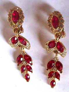Ruby Red Dangle Earrings Cut Glass Ruby and by EstatesInTime