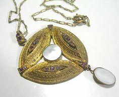 Antique Art Deco Purple Rhinestone PAPERCLIP Victorian Chain Necklace | eBay