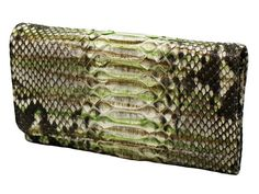 Women's wallet genuine python bk color rock-green