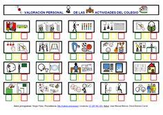 """""""Valoracion de las actividades diarias realizadas en el colegio"""" con pictogramas de ARASAAC."""
