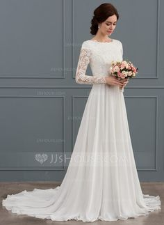 JJsHouse A-Line/Princess Scoop Neck Court Train Chiffon Wedding Dress With Beading JJsHouse, as the global leading online retailer, provides a large variety of wedding dresses, wedding party d Top Wedding Dresses, Wedding Dress Chiffon, Wedding Dress Trends, Wedding Dress Sleeves, Long Sleeve Wedding, Bridal Dresses, Bridesmaid Dresses, Long Sleeved Wedding Dresses, Classic Wedding Gowns