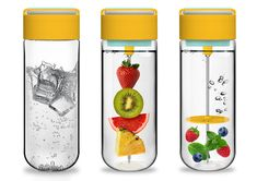 This Perfectly Designed Water Bottle Contains Fruit Skewer