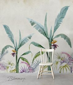 Light and Elegant Classical Motif Floral Wallpaper. Tropical and Exotic Vibes Wall Decoration. Coastal Wallpaper, Tropical Wallpaper, Wall Wallpaper, Wallpaper Jungle, Jungle Pattern, Motif Jungle, Inside A House, Wall Murals, Wall Art
