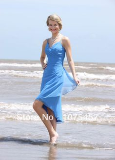 >> Click to Buy << Unique Short Front Long Back Bridesmaid Dresses Blue Chiffon Pleat V Neck Spaghetti Straps Free Shipping JB277 #Affiliate