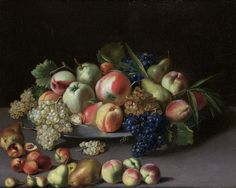 Peter van Boucle - Apples, pears, grapes and peaches on a pewter dish on a table top.jpeg