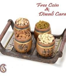 Buy Set of 4 Terracotta Tumbler with Tribal Motifs and Tray diwali-dry-fruit online