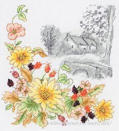 Autumn Days from Anchor counted cross stitch kit. Just Cross Stitch, Cross Stitch Cards, Cross Stitch Flowers, Counted Cross Stitch Patterns, Cross Stitch Embroidery, Modern Cross Stitch Patterns, Cross Stitch Designs, Diy Ribbon Flowers, Cross Stitch Landscape