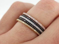 Set of 5 - Micro Pave Diamond Stacking Eternity Bands in 18k Gold