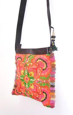 Orange Cross-Over Bag Adjustable Strap Genuine Leather HMONG Embroidered Handmade Thailand (BG837BP-OF2)