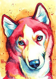 Resultado de imagen para perros husky acuarela