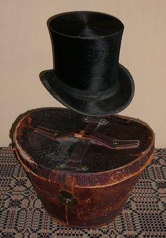 Top Hat Antique Black Silk Fur Vintage Mans by EvelynnsAlcove, $125.00