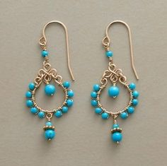 BEAD BORDER EARRINGS -- Turquoise seed beads border goldfilled hoops while one dangles within, two more below. Handcrafted with goldfilled French wires. Wire Wrapped Earrings, Wire Earrings, Earrings Handmade, Wire Jewelry, Beaded Jewelry, Handmade Jewelry, Fall Jewelry, Jewellery, Chandelier Earrings