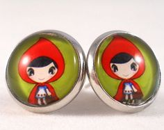 Cute Earrings for Teens and Tweens Little Red Riding Hood Jewelry Red and Green Cartoon Earrings Gifts for Tween Girls Fairytale Jewelry